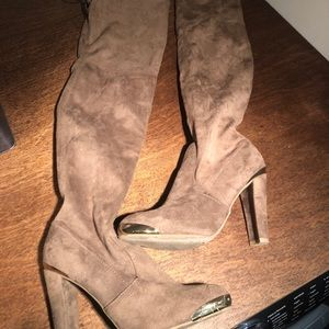 Shoes - Brown suede knee High boots heels with gold